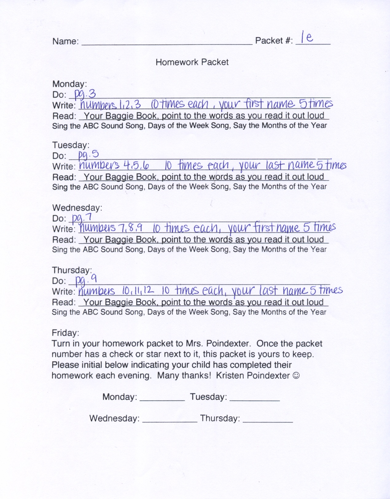 New Blog 3 Kindergarten Homework