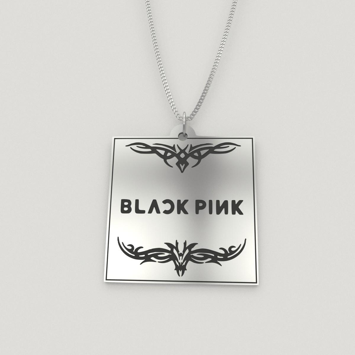 BlackPink Logo Engraved Charm Necklace