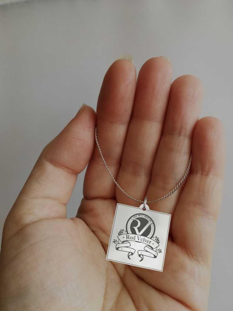 Red Velvet Engraved Charm Necklace