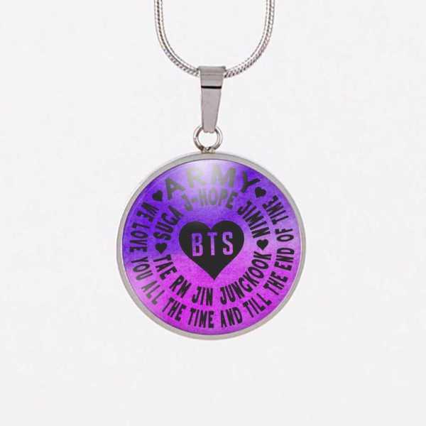 BTS We Love You Purple Charm Necklace