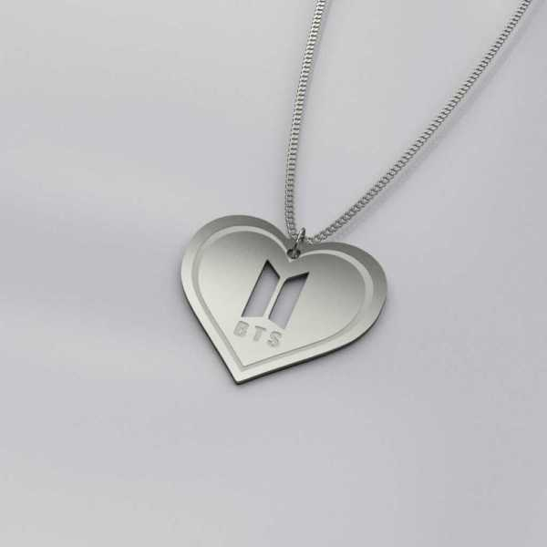 Engraved BTS Logo Heart Charm Necklace