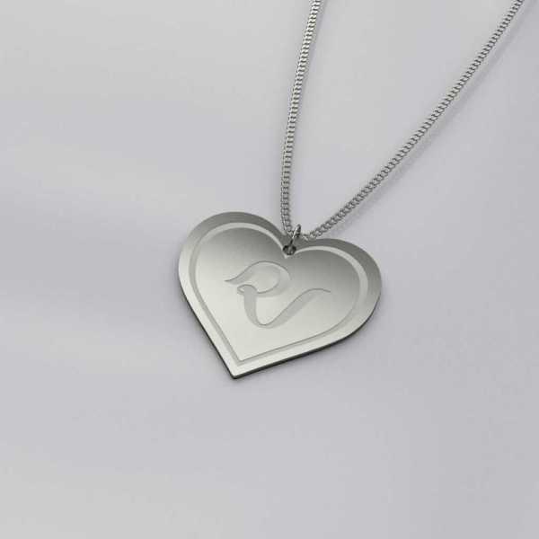 Red Velvet Heart Charm Outline Necklace