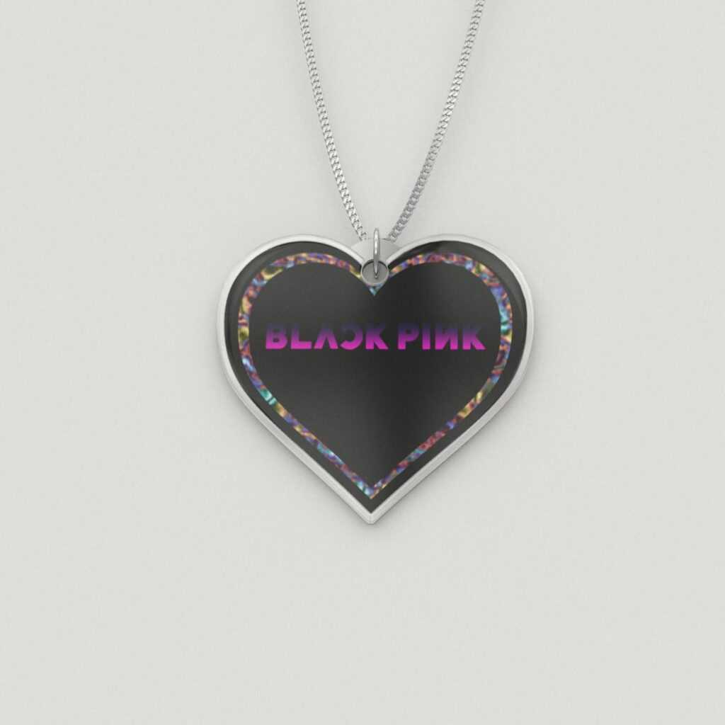 Colored BlackPink Heart Charm Necklace