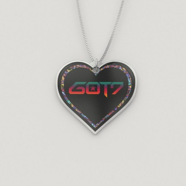 Colored GOT7 Logo Silver Heart Charm Necklace