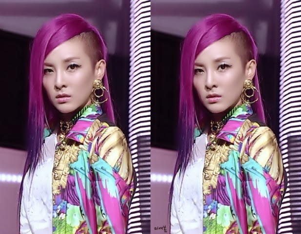Korean kpop idol actress 2ne1 dara purple hair dye color hairstyles for girls kpopstuff