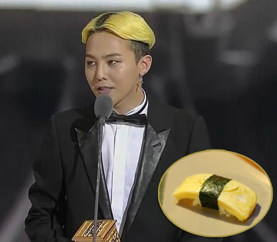 korean kpop idol boy group band big bang GDragon GD yellow sushi hair color hairstyles for guys kpopstuff