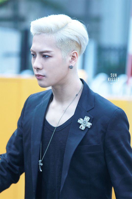 korea korean kpop idol boy band group got7 jackson's blonde hair clean cut pomade color hairstyles for guys kpopstuff