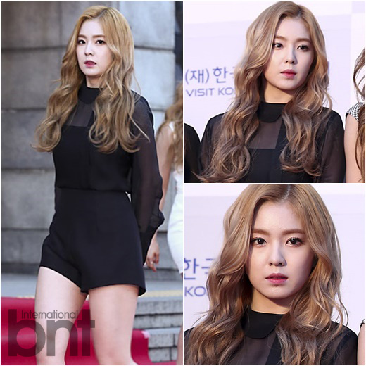 korea korean kpop idol girl band group red velvet irene's wavy hair light brown waves wavy hair permed hairstyles for girls kpopstuff