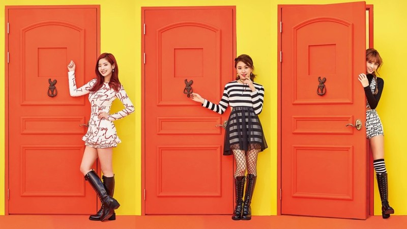 korea korean kpop idol girl group band twice's knock knock fashion dahyun chaeyoung momo schoolgirl punk outfit style for girls kpopstuff