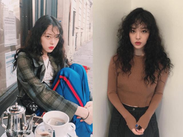korea korean kpop idol girl group band fx sulli's hippie perm hair looks curly wavy voluminous hairstyles girls women kpopstuff