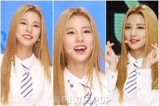 korea korean kpop idol girl group band laboum solbin's blonde hair color gold dye hairstyles girls women kpopstuff main