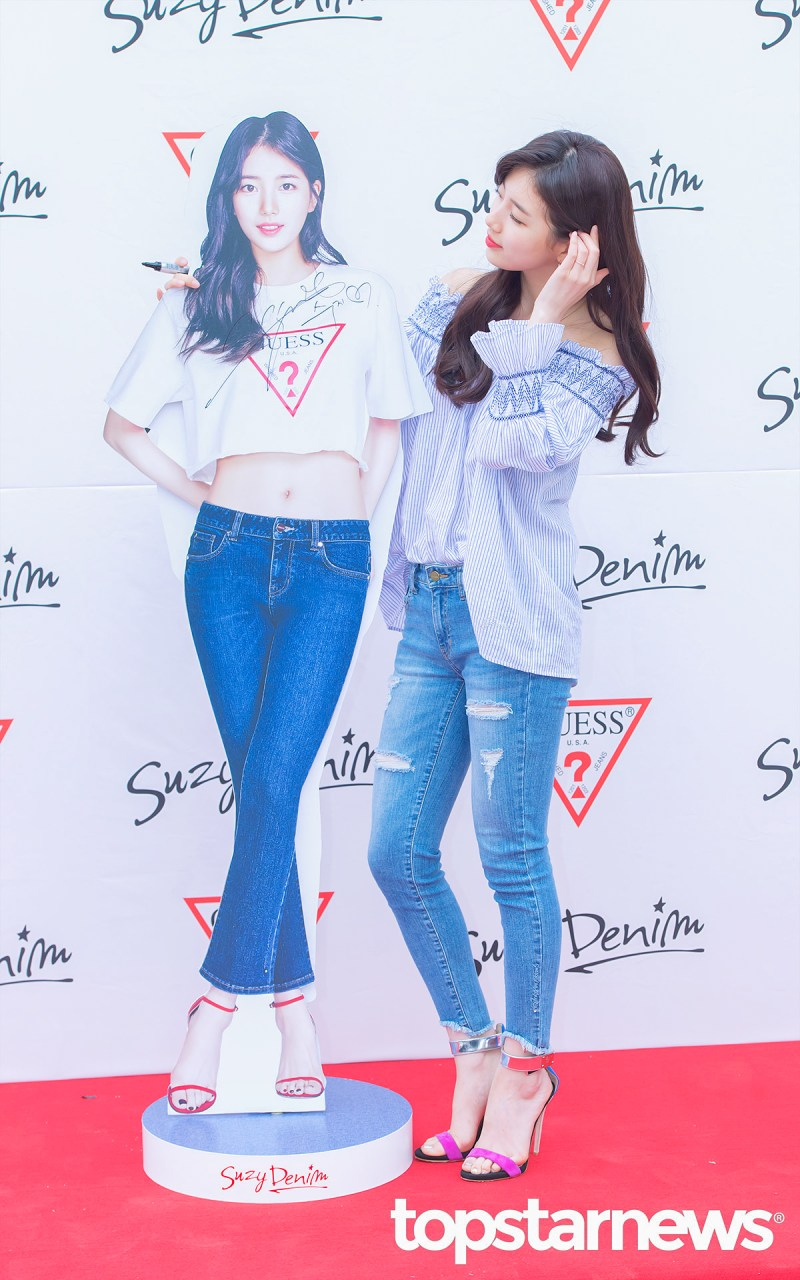 korea korean kpop idol girl group band miss a suzy's spring outfit for guess fansign event off the shoulder jeans heels fashion style girls women kpopstuff