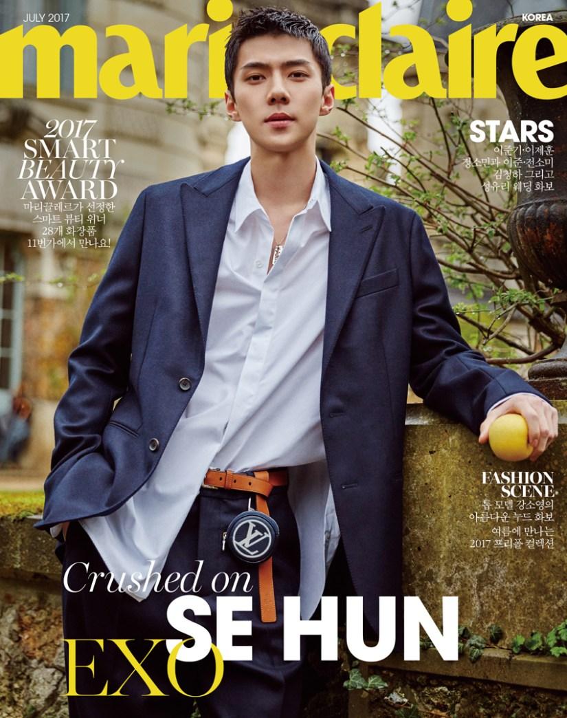 korea korean kpop idol boy band group exo sehun's fashion style for marie claire july paris photoshoot chic hip louis vuitton suit unbuttoned kfashion guys men kpopstuff