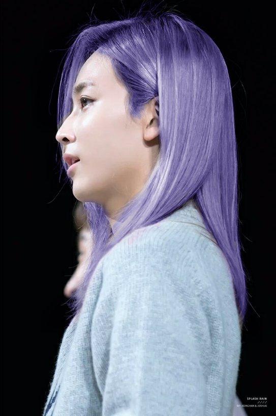 korea korean kpop idol boy band group produce 101 season 2 kim samuel's hair looks purple hair color hairstyles guys men kpopstuff lavender