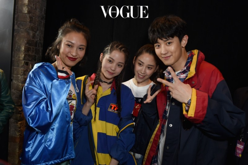 korea korean kpop idol boy band group exo chanyeol's tommy hilfiger fashion 2017 fall show best dressed with celebs and models casual jacket plaid street style men guys