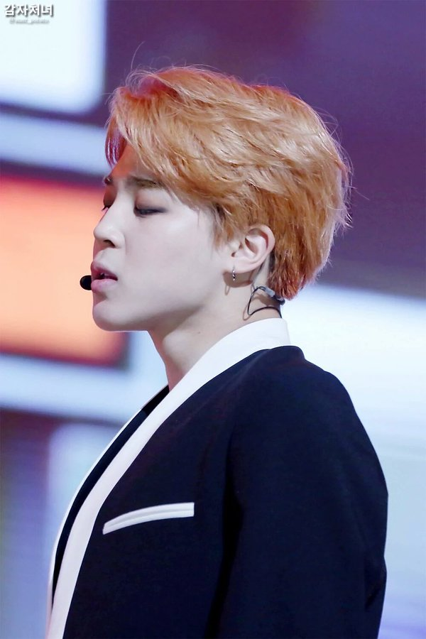 korea korean kpop idol boy band group bangtan boys bts jimin's best hairstyles orange brown dyed hair for guys men perfect man kpopstuff