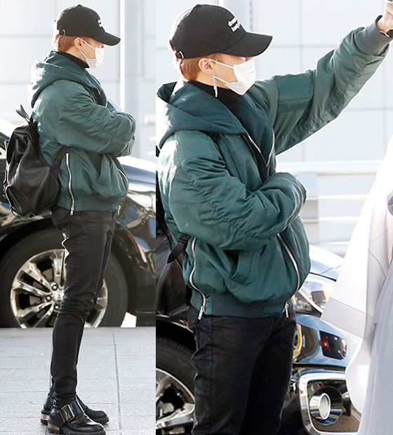 korea korean kpop idol boy band group bangtan boys jimin casual fall winter looks bts mama airport fashion bomber black streetwear streetstyle styles guys men kpopstuff