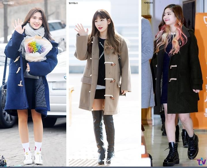 korea korean kpop idol girl group band twice ioi snsd coat black skirt idol winter outfit ideas tteokbokki duffle coat fashion styles girls women kpopstuff