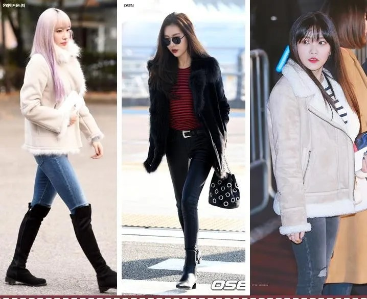 korea korean kpop idol girl group boy band group exid hani sunmi red velvet yeri sheepskin lambskin coat jeans denim idol winter outfit ideas girls women guys kpopstuff