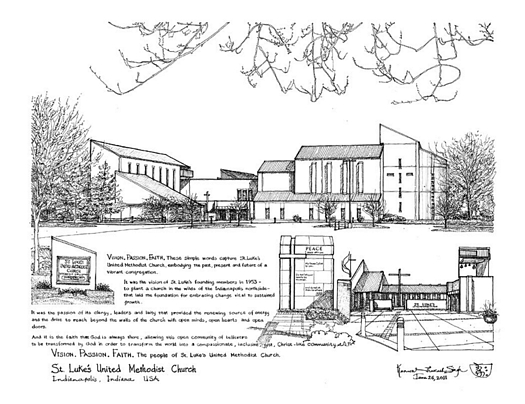 St. Luke's United Methodist Church — a pen and ink drawing