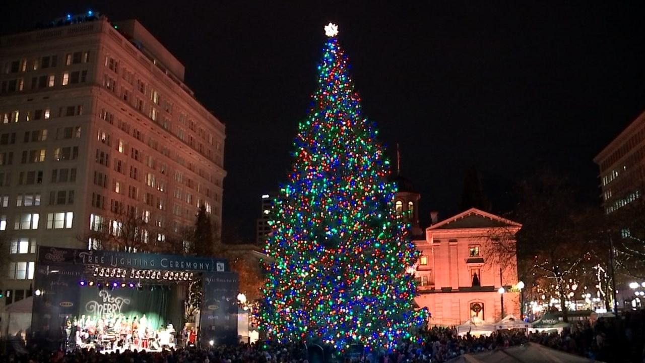 Portland Christmas Tree.Tree Lighting Ceremony Portland Or