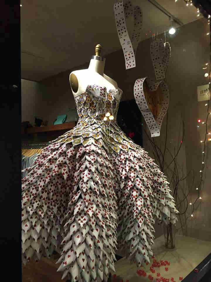 Valentines Day Dress Made From Hearts Of 160 Decks Of