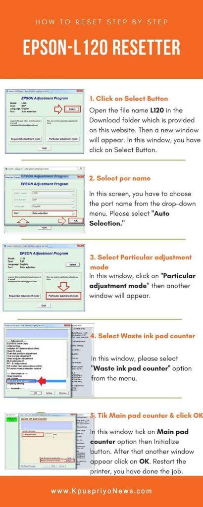 Cara Reset L120 : reset, Resetter, Epson, Printer, Peatix