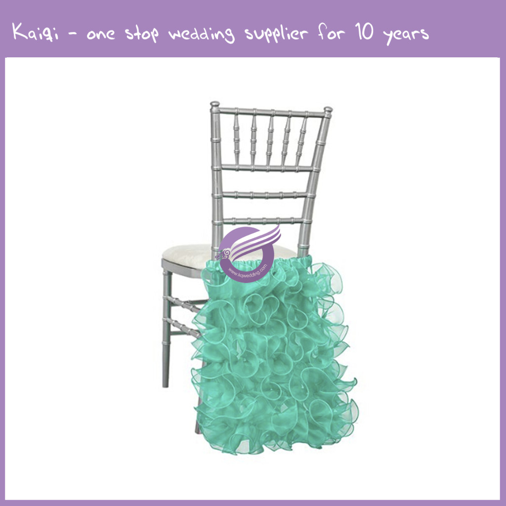 teal chair covers for wedding babygo high organza ruffles back cover d225 kaiqi