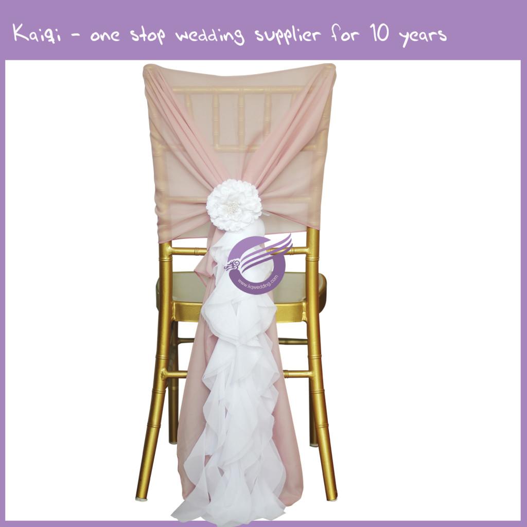blush chair sashes plastic covers for sale pink bridal chiffon ruffled hood white