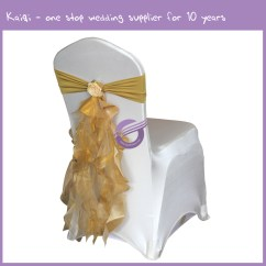 Gold Chair Covers With Black Sash Toddler Personalized Taffeta Organza Ruffled Artificial