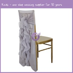 Cheap Chair Cover Rentals Santa Hat Covers Diy Silver Wholesale Wedding Ruffled Hood Sash Ties