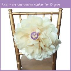 Wedding Chair Sash Accessories Fully Reclining Beach Ivory Taffeta Spandex Band Decorative Flower As Back