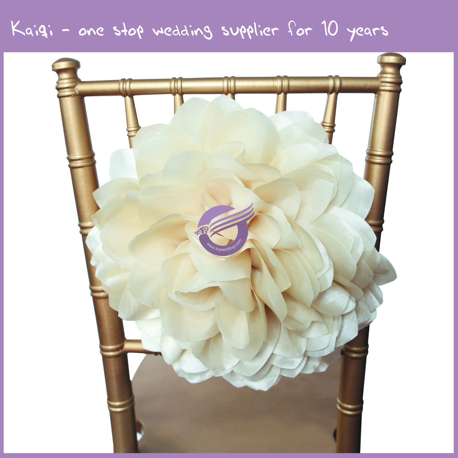 Flower Chair Ivory Taffeta Spandex Band Decorative Flower As Chair Back