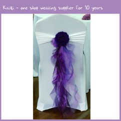 Purple Chair Sashes For Weddings White And Ottoman Set Organza Fancy Ruffle Wedding 900