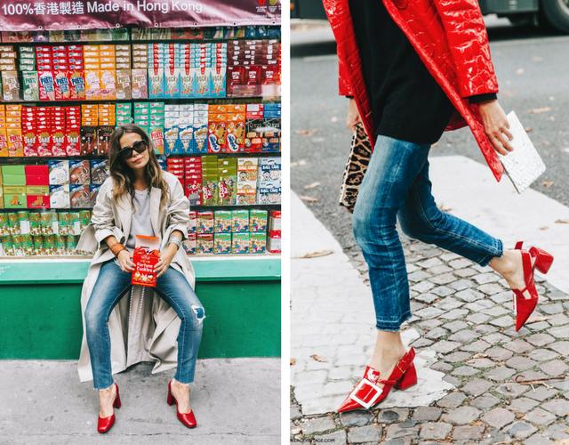 44ee43e0b2 look street style de mujer con vaqueros para combinar zapatos rojos de  tacon ...