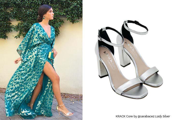 c3fe98f93 look graduaciones de mery turiel con vestido largo estampado y sandalias  plateadas krack core by sara