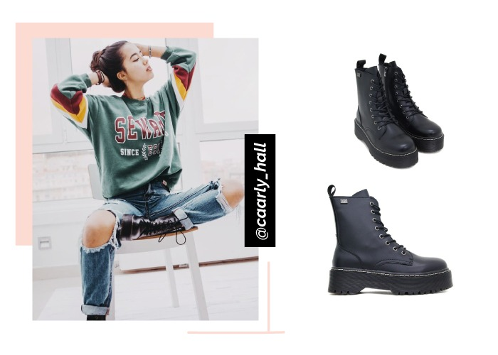 social looks con zapatos instagram caarly_hall botas abby negras plataforma coolway