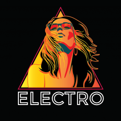 nice woman use for radio station electro logo