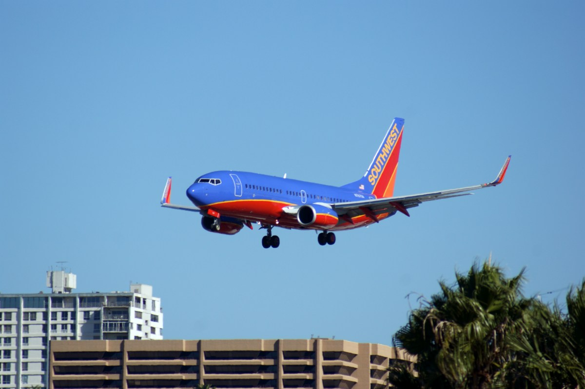 Southwest Airlines flight landing.
