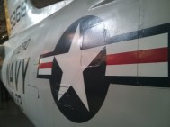The roundel painted on an USS Interpid Navy plane.