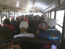 Nothing like a full bus load of people who all just ran 13.1 miles!