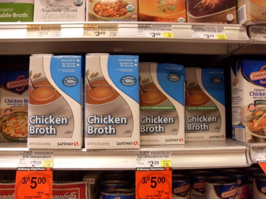 Boxes of Chicken Broth
