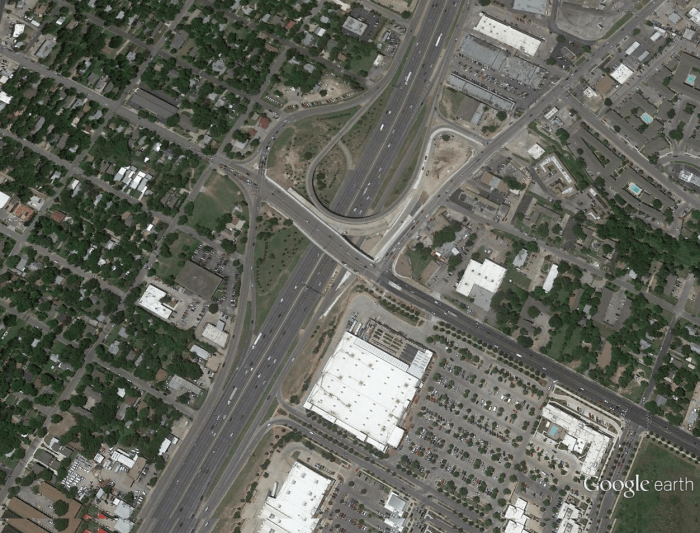 The intersection of 51st and IH-35 in 2015