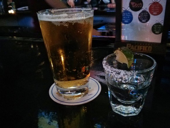 Tried the new-to-me Guns and Oil Maverick Lager with a shot of Patrón.