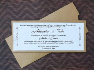 Invitatie cu hartie manuala si plic craft natur
