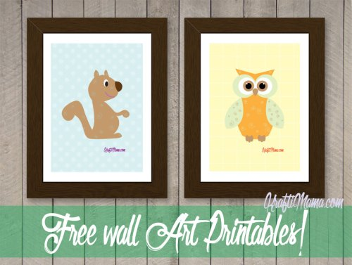 Free Printable Owl & Squirrel Wall Art Boys