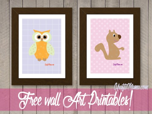 Free Printable Owl & Squirrel Wall Art Girls