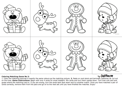 Free Coloring Printable Matching Game #2