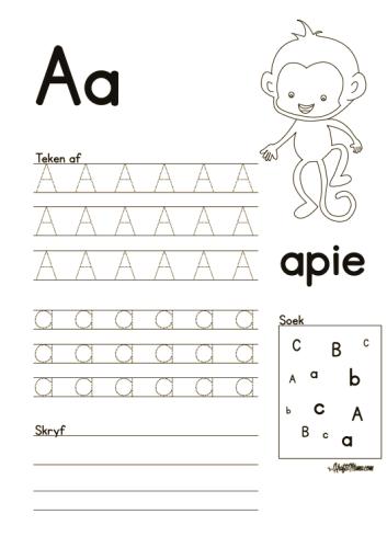 Leer Alfabet, Afrikaans, A