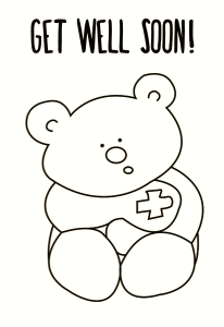 Get well soon card printable free, coloring page.